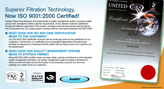 Superior Filtration Technology, Now ISO 9001:2000 Certified!